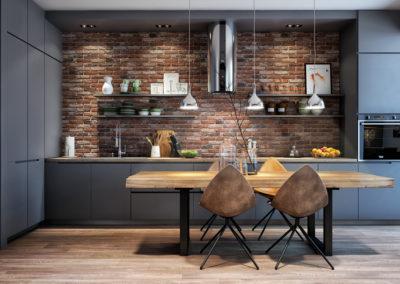Kuchnia z drewnianym stołem - pomysł na aranżację.
