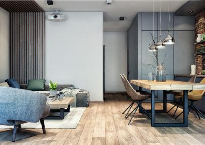 Salon połączony z kuchnią - inspiracja wystroju wnętrza.