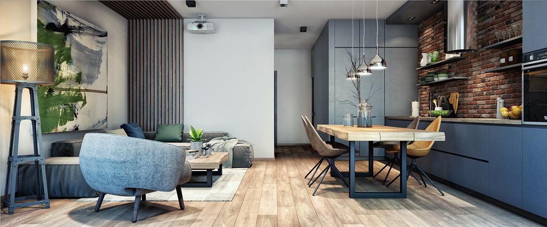 Projekt wnętrza utrzymanego w naturalnych kolorach - salon i jadalnia, w której znajduje się stół z drewna litego.