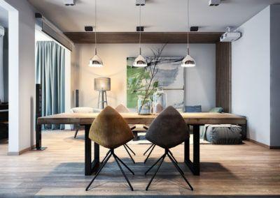 Pomysł na urządzenie wnętrza - nowoczesny stół dębowy w przestronnym salonie połączonym z jadalnią.