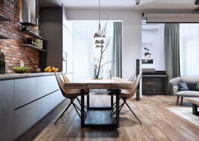 Aranżacja wnętrza z użyciem drewnianych elementów - tak prezentuje się elegancki drewniany stół, drewniana ława i drewniana podłoga.