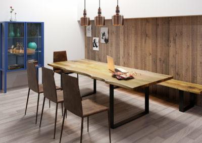 Drewniany stół, ława i krzesła - elementy wyposażenia nowoczesnej jadalni