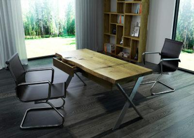 biurko avangard pusty dębowy blat