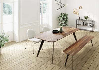 Stół i ławka ENKE - stylowa aranżacja wnętrza, drewno, natura, minimalizm