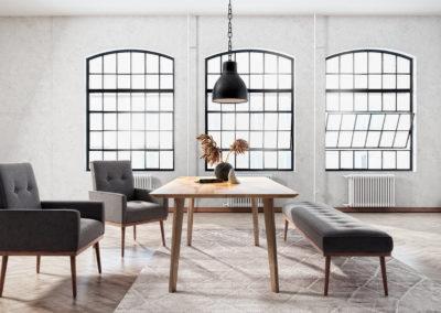 Stół REN, ławka SET i fotele SET tapicerowane - aranżacja