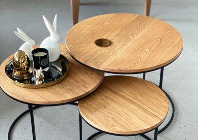 zestaw 3 okrągłych stolików kawowych ETT