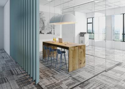 Inspiracja nowoczesnego wnetrza biurowego ze stołem z drewna