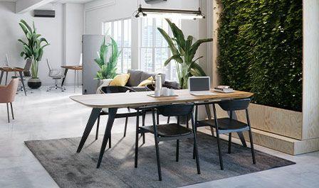 Stół z obłymi rogami i podciętym brzegiem