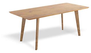 Stoły do jadalni w skandynawskim stylu, prosta geometryczna forma i naturalne drewno